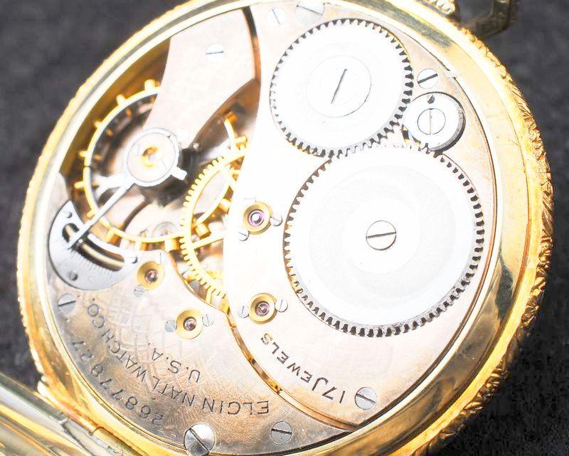 極美品 1923年 ELGIN バイカラーケース アールデコ 白金張 懐中時計 アンティーク エルジン_画像5