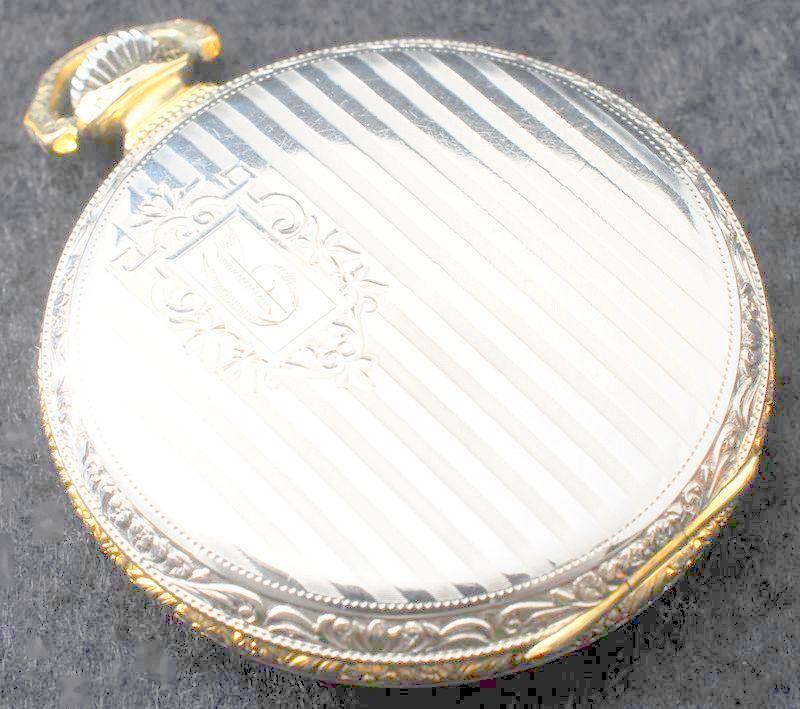 極美品 1923年 ELGIN バイカラーケース アールデコ 白金張 懐中時計 アンティーク エルジン_画像2