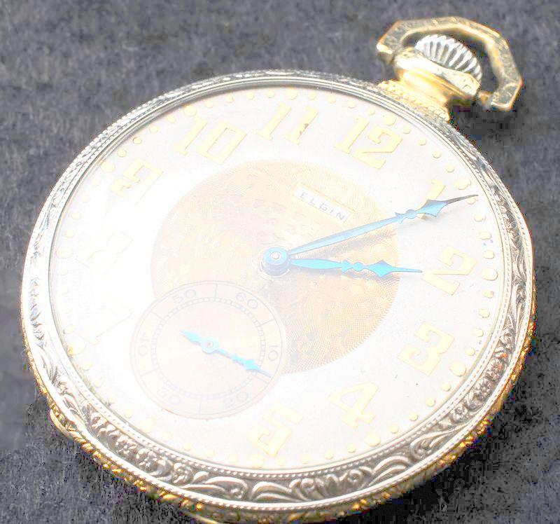 極美品 1923年 ELGIN バイカラーケース アールデコ 白金張 懐中時計 アンティーク エルジン