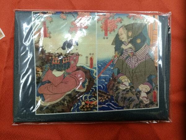 2巾(70×70)浮世絵風呂敷(グレー)_画像1