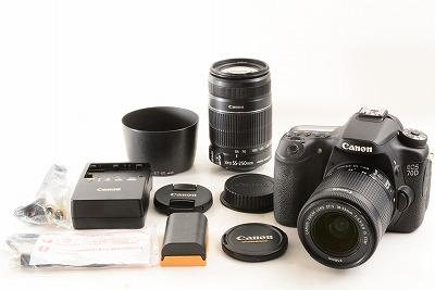 無傷 Canon キヤノン EOS 70D EF-S 18-55mm 55-250mm Wレンズ (4330)
