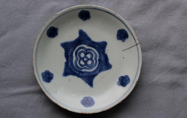 【水馬】 古染付皿   中国明朝時代