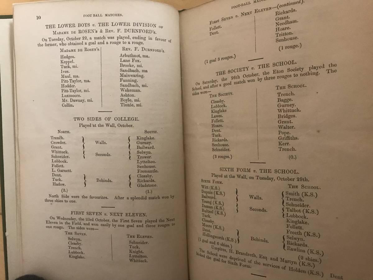 超入手困難/歴史的資料【英国 イートン校フットボール試合記録 1861年】FOOT-BALL MATCHES FOR 1861 / ETON REGISTER サッカー_画像4