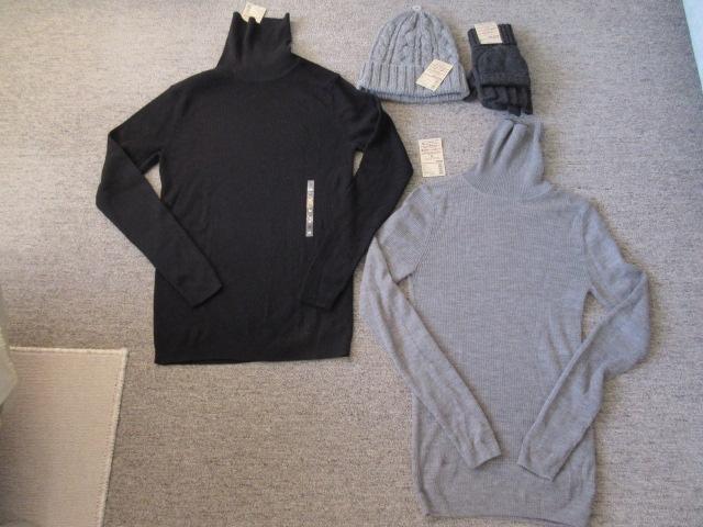 無印良品の紳士用タートルネックニット、ニット帽、ミトンにもなる半指手袋の3点セット(合計9960円)新品未使用品おまけ付