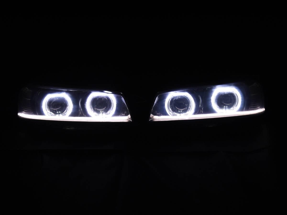 ER34 スカイライン プロジェクター+LEDリング+ファイバーLED加工ヘッドライト_画像2
