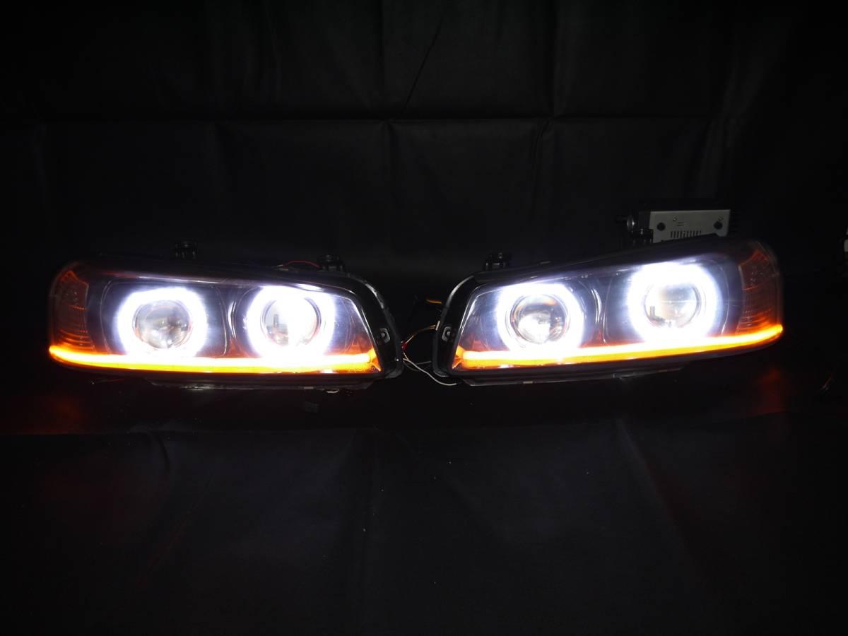ER34 スカイライン プロジェクター+LEDリング+ファイバーLED加工ヘッドライト_画像3