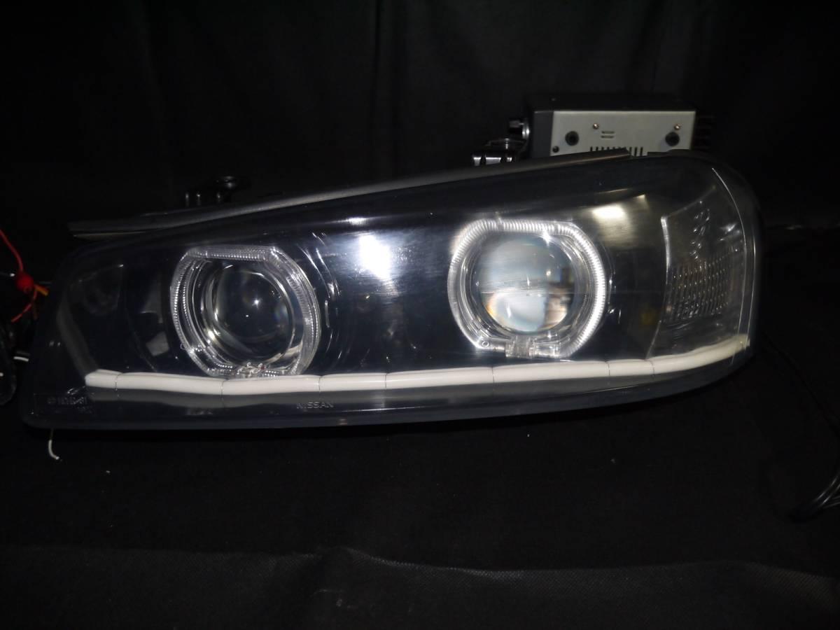 ER34 スカイライン プロジェクター+LEDリング+ファイバーLED加工ヘッドライト_画像8