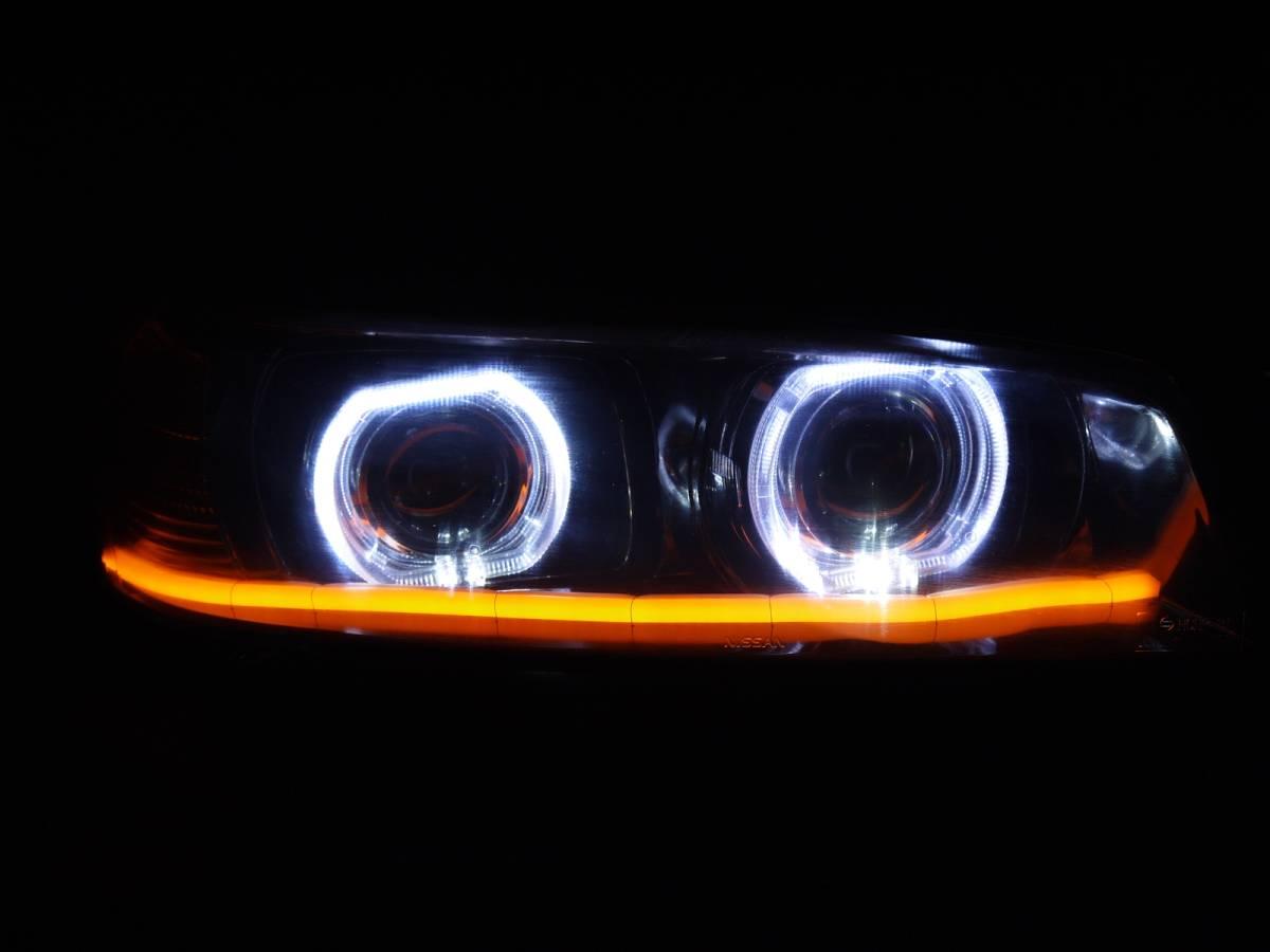 ER34 スカイライン プロジェクター+LEDリング+ファイバーLED加工ヘッドライト_画像9