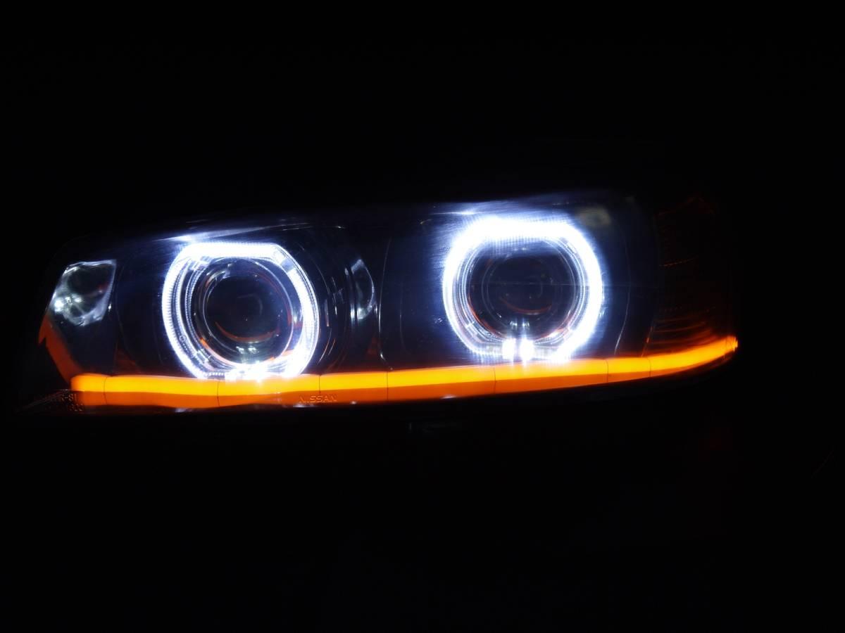 ER34 スカイライン プロジェクター+LEDリング+ファイバーLED加工ヘッドライト_画像10