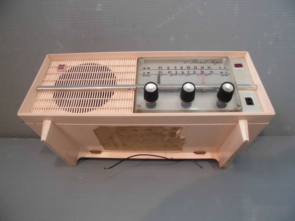 ◆ ナショナル真空管ラジオGX-230型鳴ります 淡いピンク系真空管ラジオ稼動品 小型ラジオ鳴ります ◆_画像3
