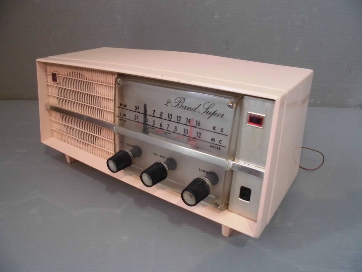 ◆ ナショナル真空管ラジオGX-230型鳴ります 淡いピンク系真空管ラジオ稼動品 小型ラジオ鳴ります ◆