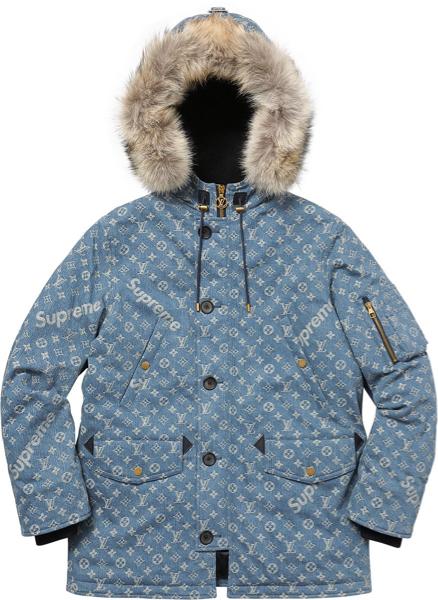☆ 国内正規店購入 ☆ Louis Vuitton / Supreme Jacquard Denim N-3B Parka デニム ダウ