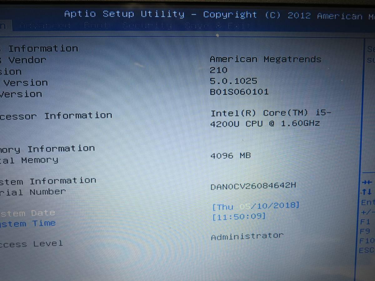美品 ASUS X550L Core i5-4200U メモリー4GB BIOS OK ジャンク_画像2
