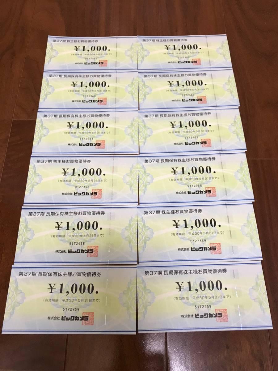 【送料無料】ビックカメラ 株主優待券 12000円分(1000円券12枚) 平成30年5月31日迄
