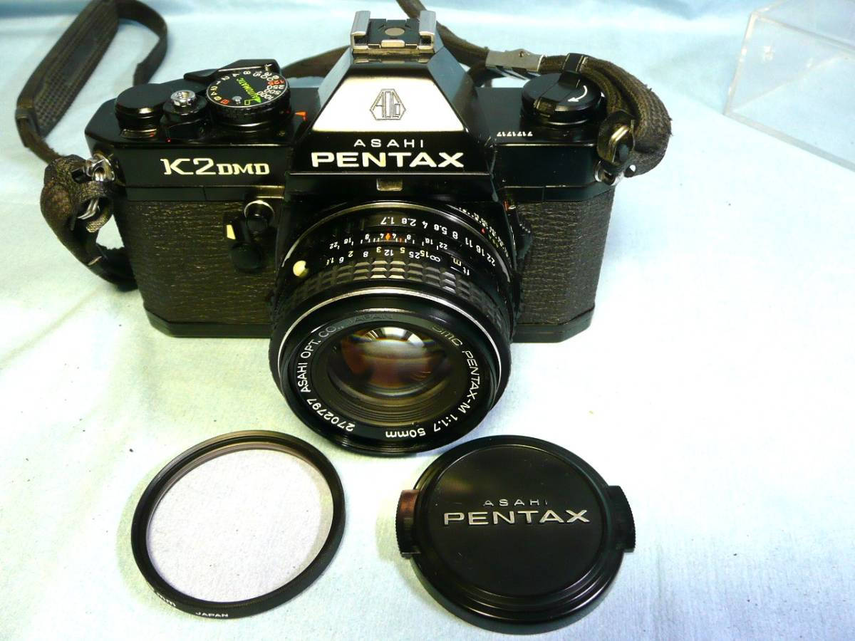 ★動作品★PENTAX K2 DMD ブラックボディ + SMC PENTAX-M 50mm F1.7 中古品ジャンク扱い_画像2