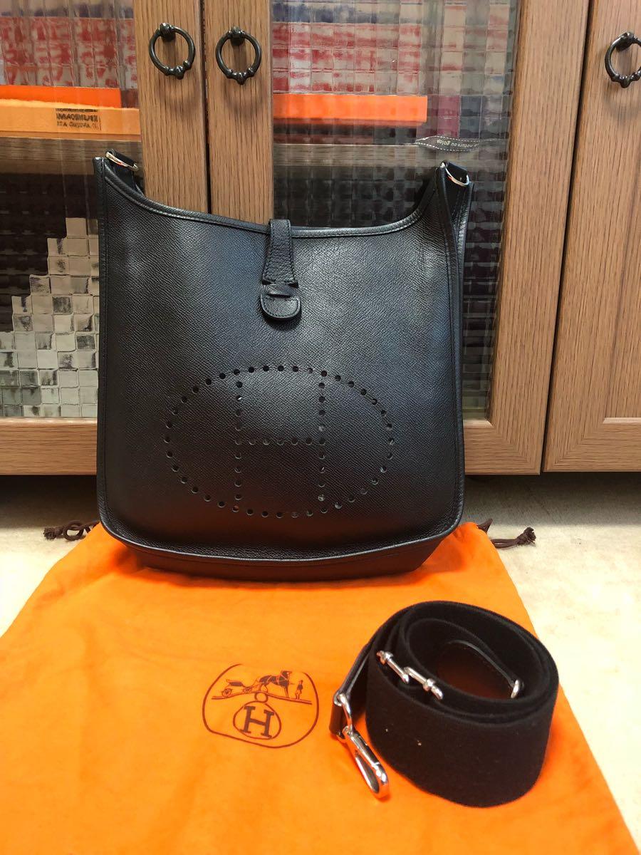 【新品同様】エルメス HERMES エブリン3PM ヴォーエプソン ブラック 保存袋付 L刻印 ショ