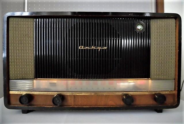 ONKYO/オンキョー OS-75型 真空管ラジオ 音響の高級ラジオ 木製・ST管・7球スパー 動作品 S31 アンティーク ラジオ!