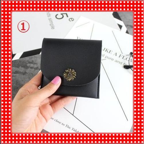 ★ 新品 財布 薄型 ボタン式 デザイン スリム ショートウォレット【ブラック①】KIN-12303 ★_ブラック