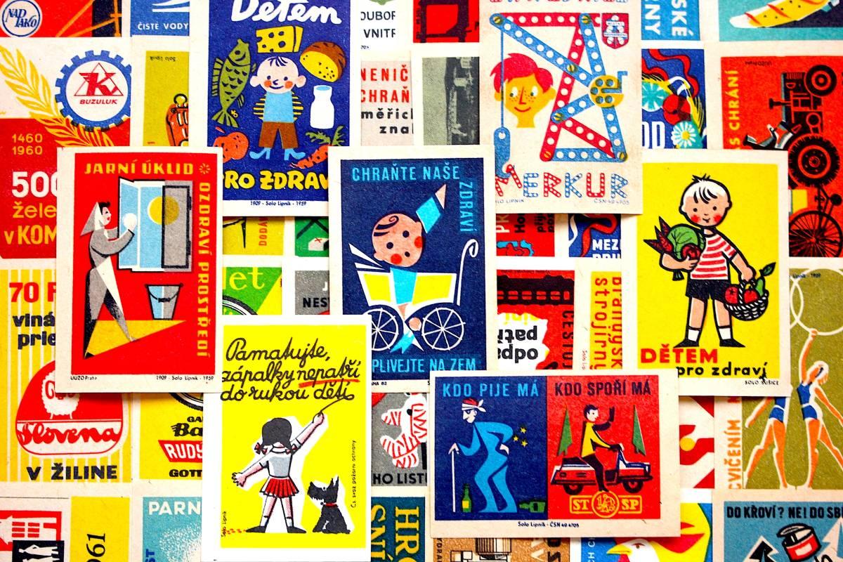 チェコの古いマッチラベル30枚セット01/ヴィンテージ アンティーク ヨーロッパ雑貨 チェコ雑貨 紙モノ イラスト ノベルティ 人 美品/