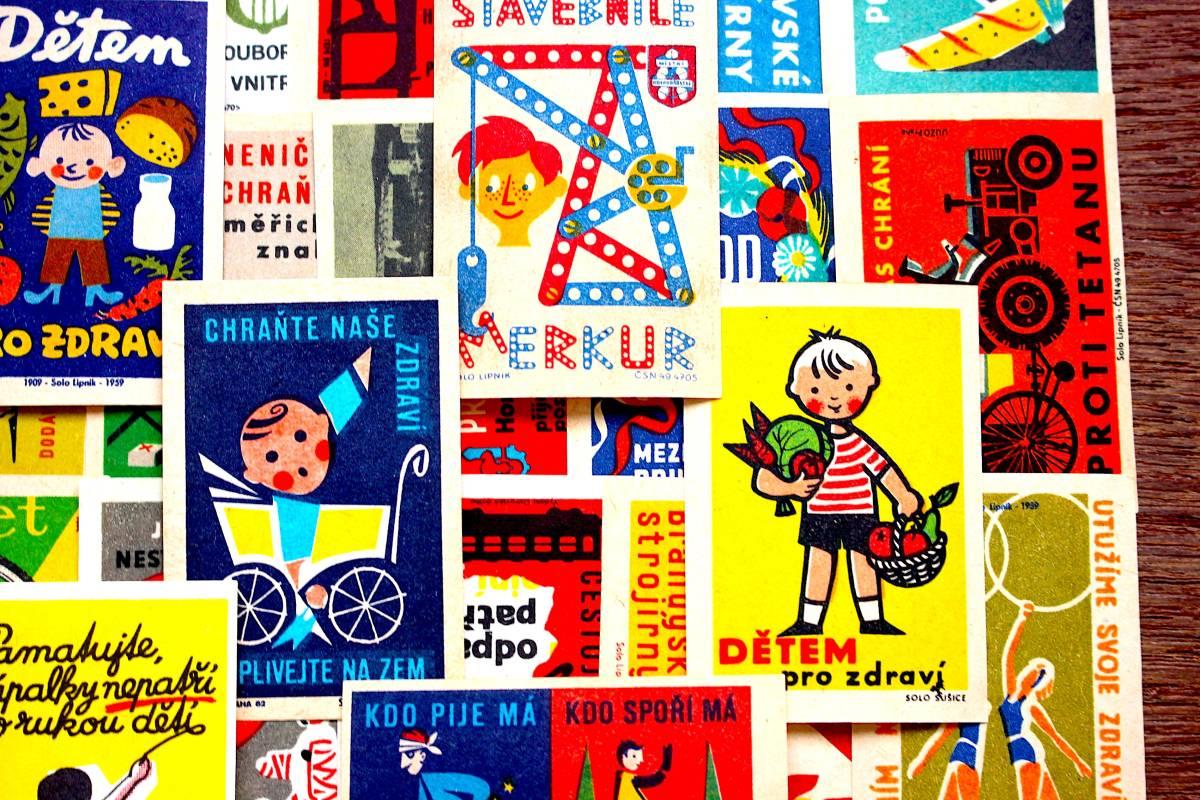 チェコの古いマッチラベル30枚セット01/ヴィンテージ アンティーク ヨーロッパ雑貨 チェコ雑貨 紙モノ イラスト ノベルティ 人 美品/_画像3