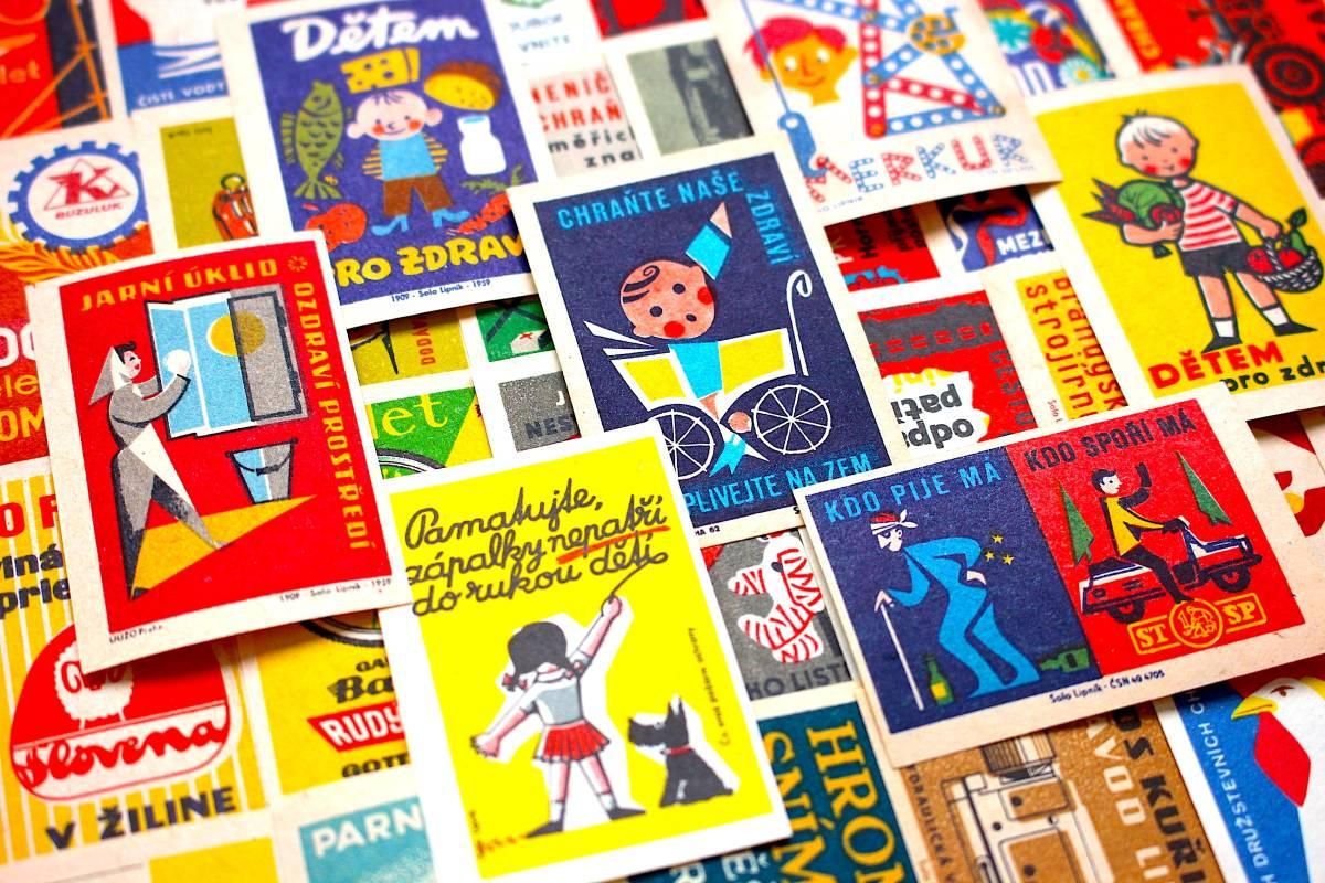 チェコの古いマッチラベル30枚セット01/ヴィンテージ アンティーク ヨーロッパ雑貨 チェコ雑貨 紙モノ イラスト ノベルティ 人 美品/_画像4