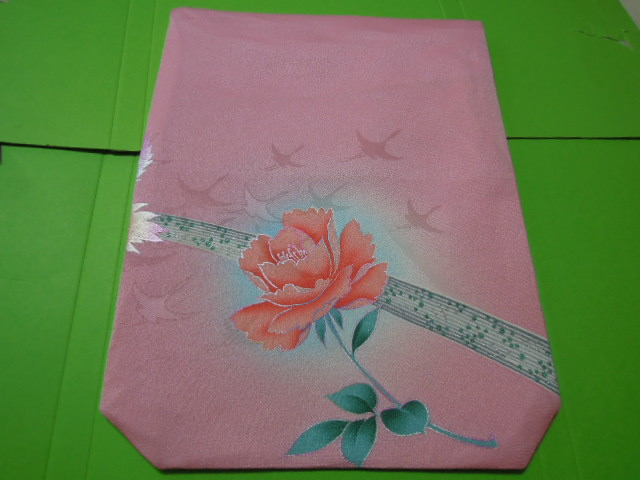pink color series silver . lame entering .. bird . rose. flower . line pattern. L size gold . inserting fukusa * silk ground * handmade!