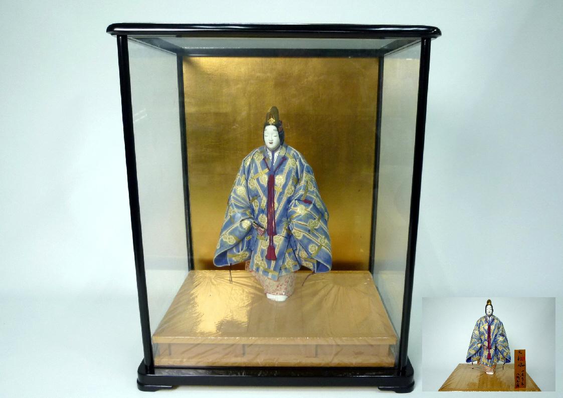 博多人形:能「松風」◆北岡秀雄作 日展作家 日本人形★ガラスケース付