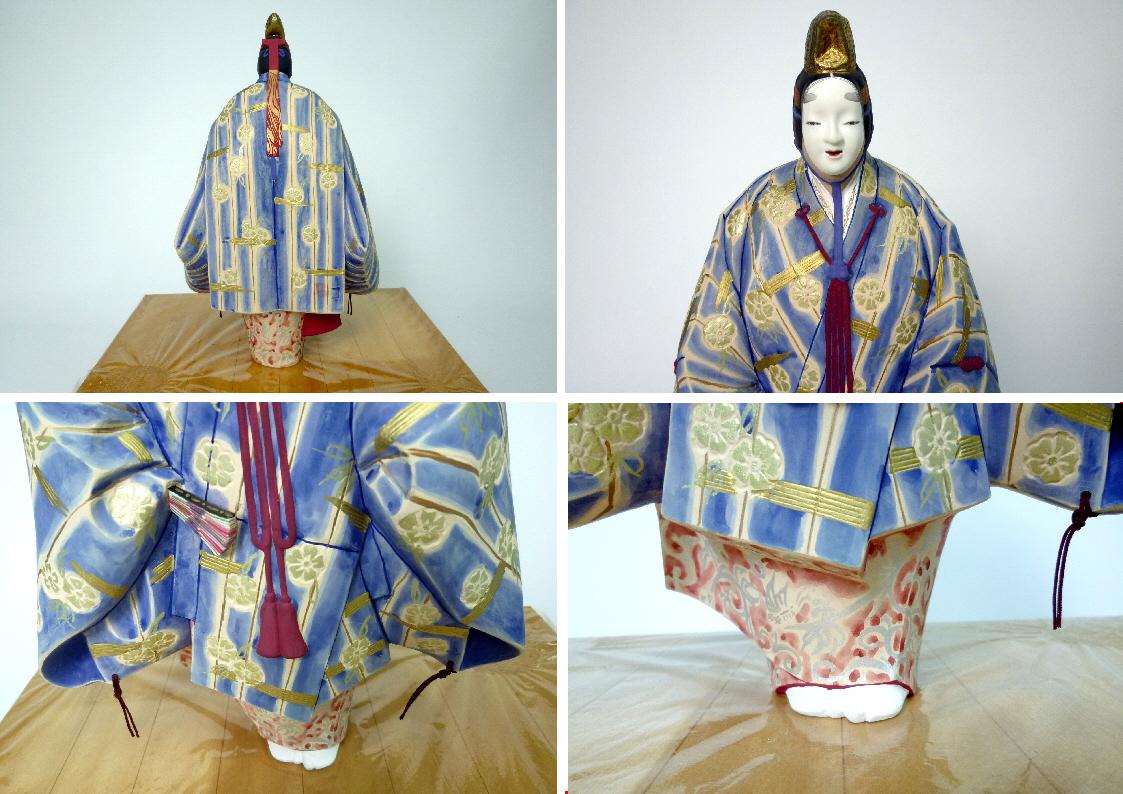 博多人形:能「松風」◆北岡秀雄作 日展作家 日本人形★ガラスケース付_画像3