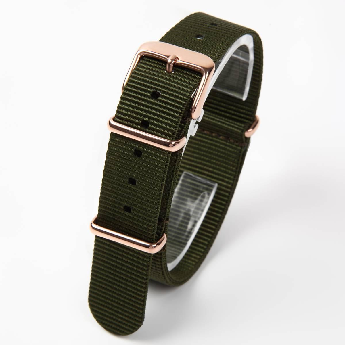 NATO タイプ 時計ベルト カーキグリーン 18mm ローズゴールドバックル 取付マニュアル付き_画像1
