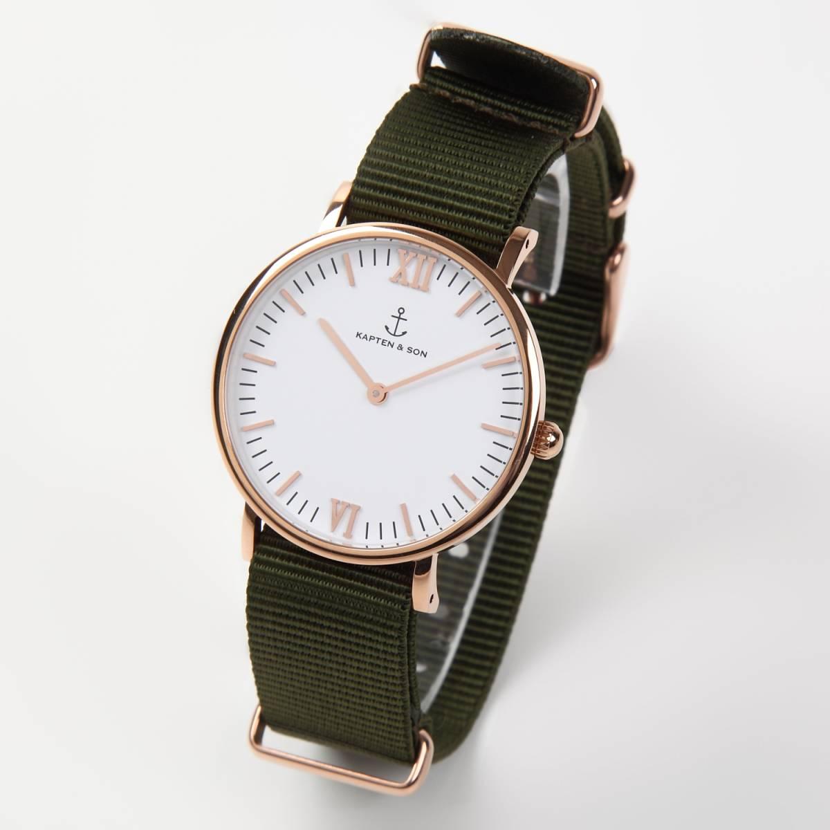 NATO タイプ 時計ベルト カーキグリーン 18mm ローズゴールドバックル 取付マニュアル付き_画像2