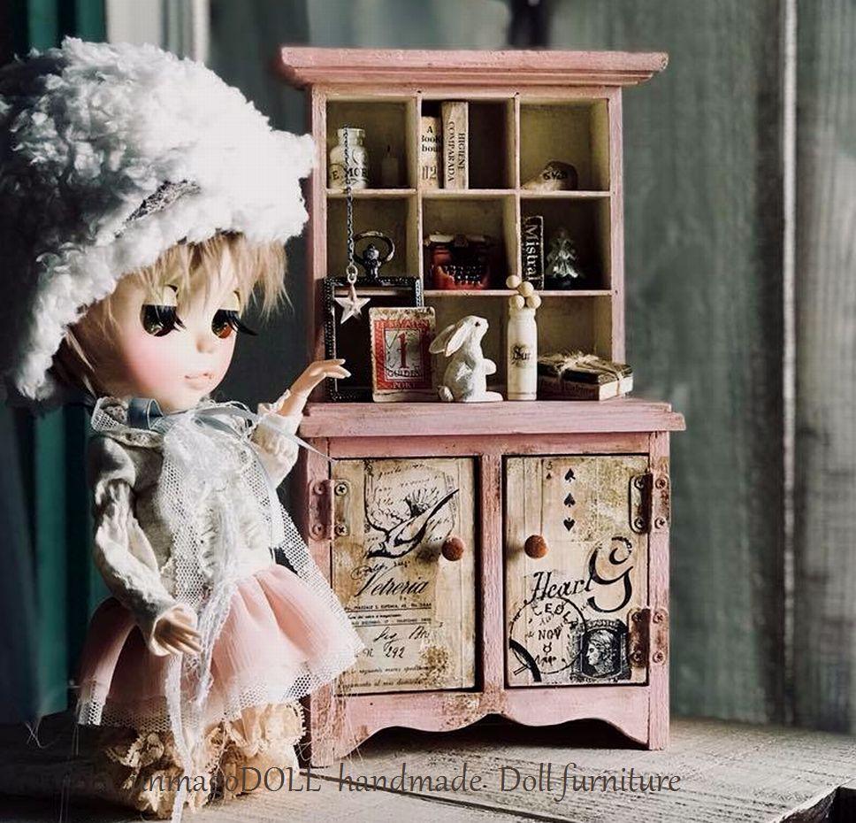 unmagoDOLL 1/6 9マスドレッサーキャビネット 乙女ガーリーピンク ウサギ ドール家具 ドールハウス ブライス/momoko