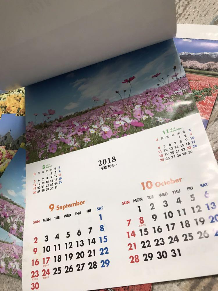訳あり ★ 2018 A3 壁掛け カレンダー 花畑 6点 KC-085_画像3