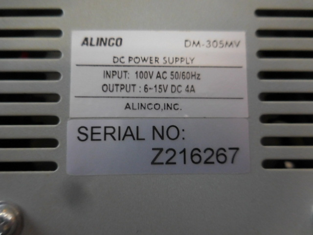 ○1円~ALINCO アルインコ安定化電源 DM-305MV AC100V→DC13.8V 動作確認済_画像9