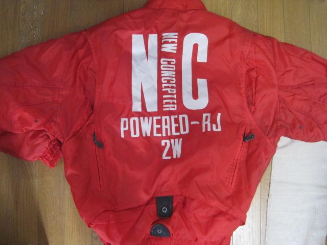 防寒カドヤKADOYA NEW CONCEPTERナイロン赤ライダースジャケットSサイズ中綿入り裏ロゴ_画像2