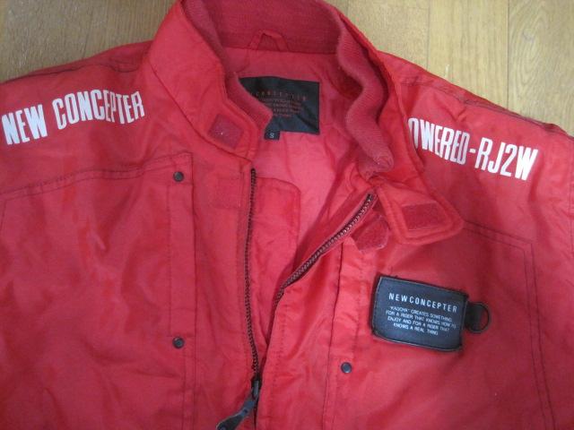防寒カドヤKADOYA NEW CONCEPTERナイロン赤ライダースジャケットSサイズ中綿入り裏ロゴ_画像3