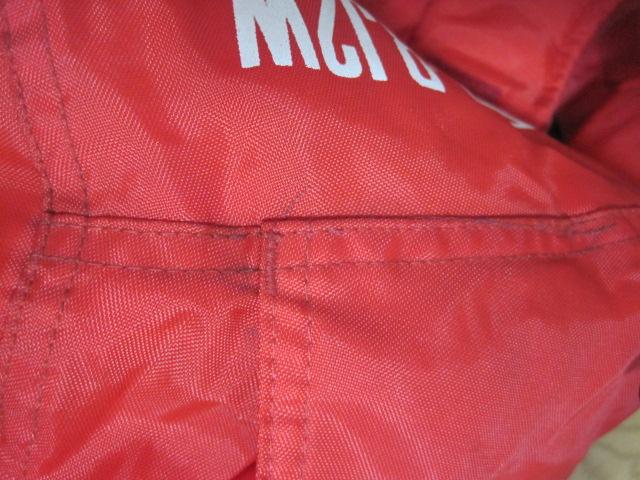 防寒カドヤKADOYA NEW CONCEPTERナイロン赤ライダースジャケットSサイズ中綿入り裏ロゴ_画像7