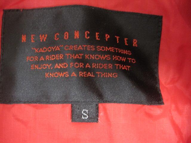 防寒カドヤKADOYA NEW CONCEPTERナイロン赤ライダースジャケットSサイズ中綿入り裏ロゴ_画像4