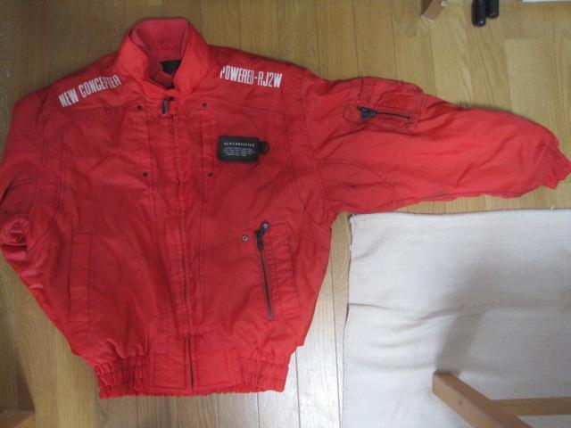 防寒カドヤKADOYA NEW CONCEPTERナイロン赤ライダースジャケットSサイズ中綿入り裏ロゴ