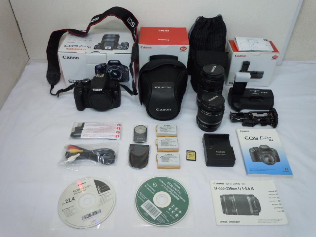★Canon EOS Kiss X4 カメラ+レンズ2個 EF-S 18-55mm+EF-S 55-250mm+BG-E8+その他付属品 デジタルカメラ デジタル一眼 キャノン
