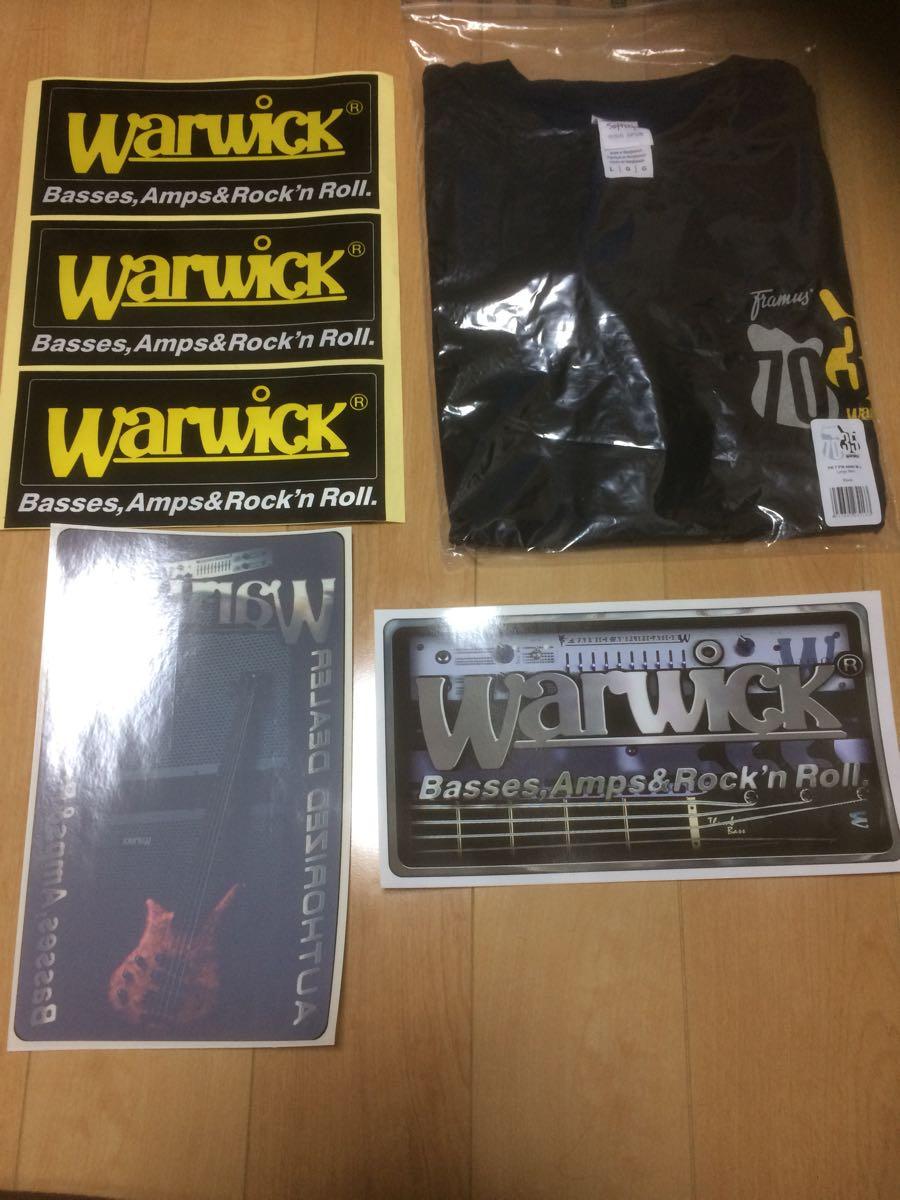 Warwick ワーウィック 非売品 Tシャツ Lサイズ ステッカー 未使用品