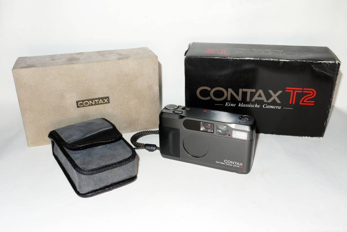 【完動品】CONTAX T2 /Carl Zeiss Sonnar 2.8/38T チタンブラック/コンタックス コンパクトカメラ/専用ケース・化粧箱・外箱付き
