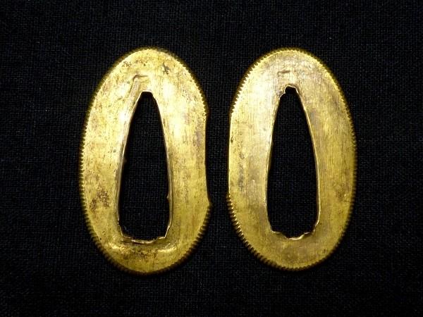 刀装具 本格的な造りの金被せ切羽 揃い 【検:鍔】 k009