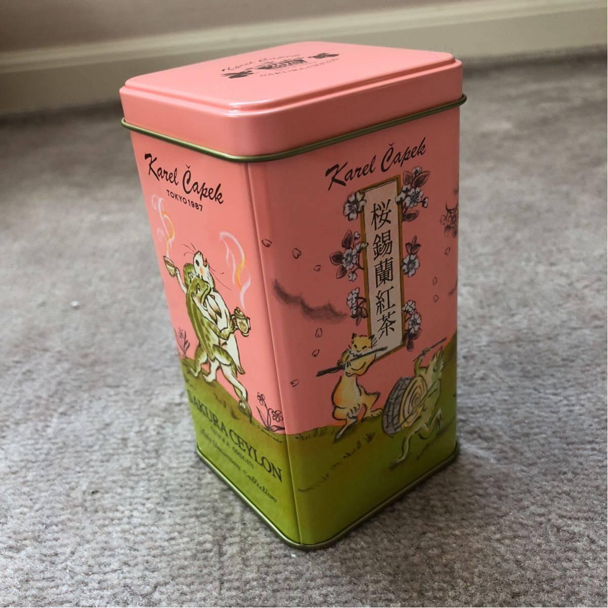 ★カレルチャペック紅茶店の可愛い紅茶空き缶ピンク桜柄★_画像3