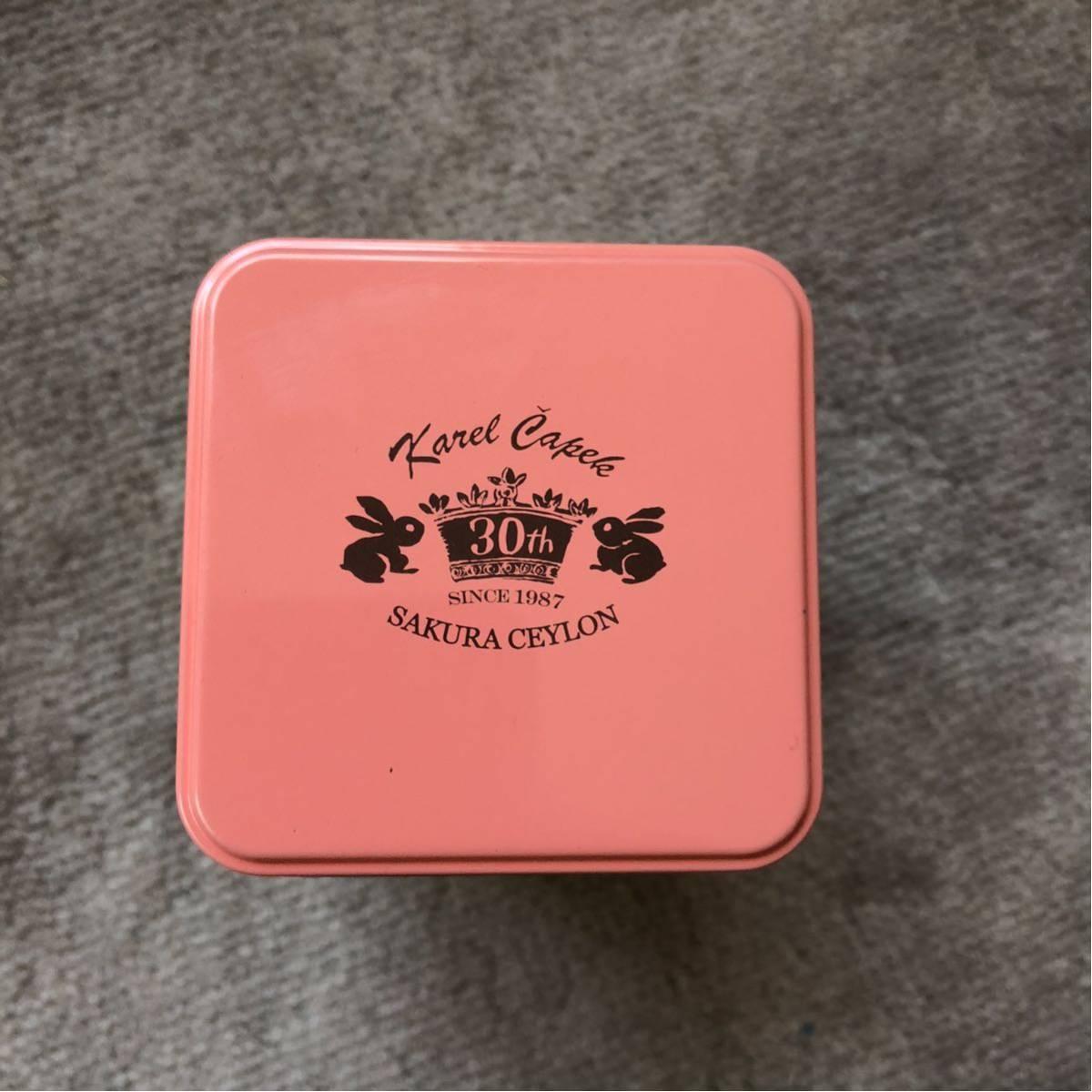 ★カレルチャペック紅茶店の可愛い紅茶空き缶ピンク桜柄★_画像5