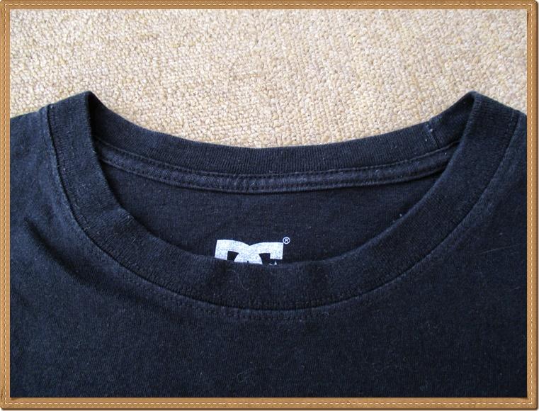 ☆634 DC SHOES ディーシーシューズ ◆格好良い カモフラ プリント◆ メンズ XL スケボー スポーツ 迷彩 丸首 半袖 Tシャツ ロゴプリ 黒_首周り