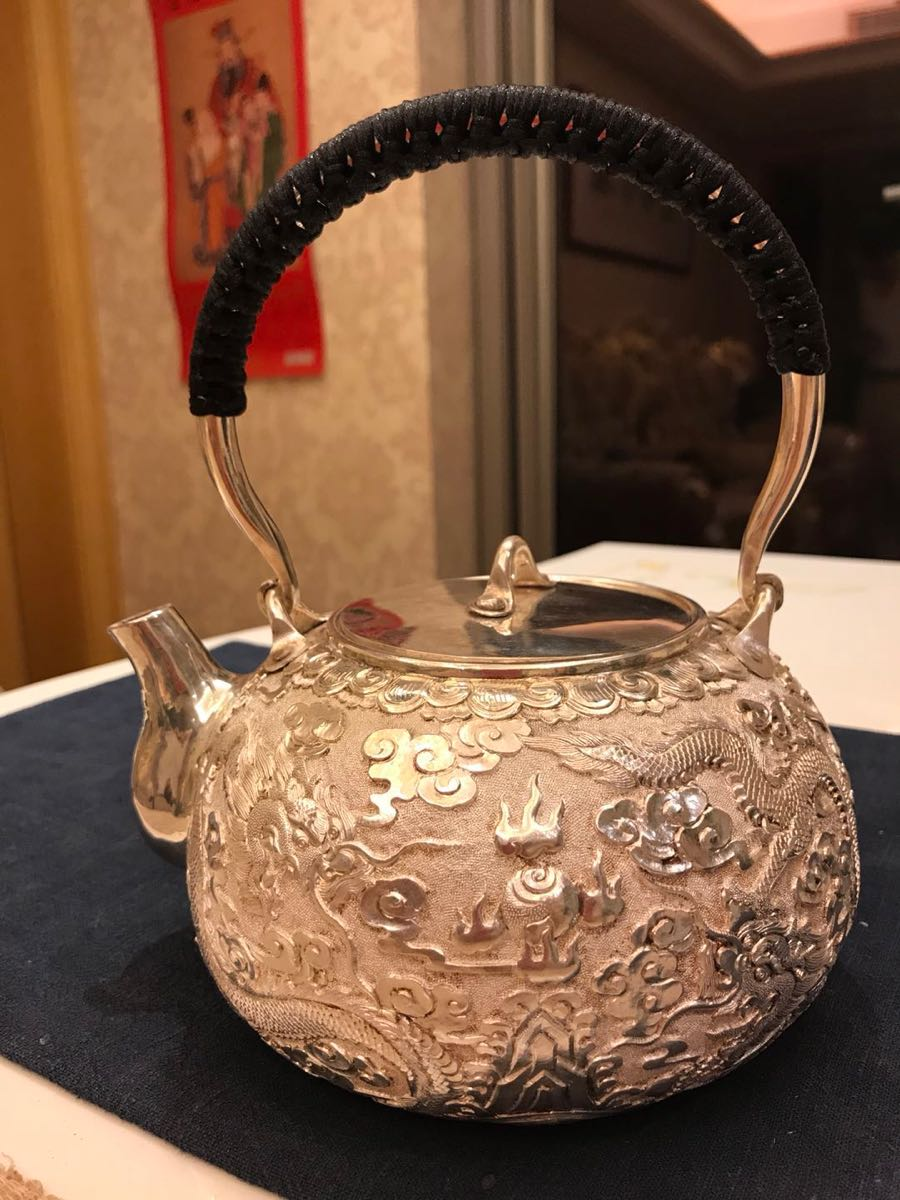 純銀製 湯沸(銀瓶、銀壺) 888g