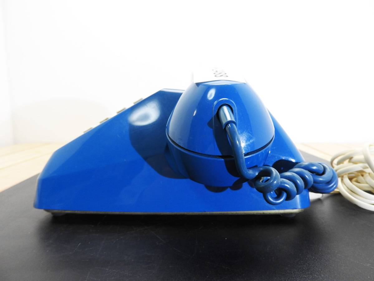 昭和レトロ 電話機★プッシュホン 601-P ブルー(青)黒電話★希少カラー「管理№M2488」_画像4