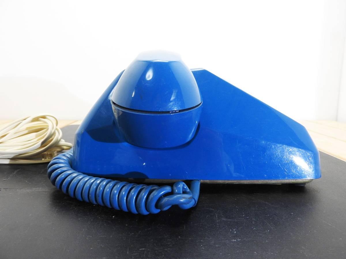 昭和レトロ 電話機★プッシュホン 601-P ブルー(青)黒電話★希少カラー「管理№M2488」_画像3