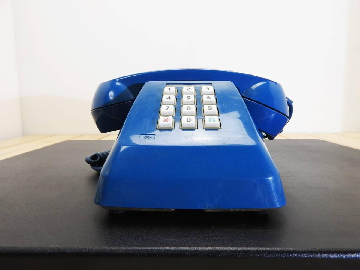 昭和レトロ 電話機★プッシュホン 601-P ブルー(青)黒電話★希少カラー「管理№M2488」_画像2