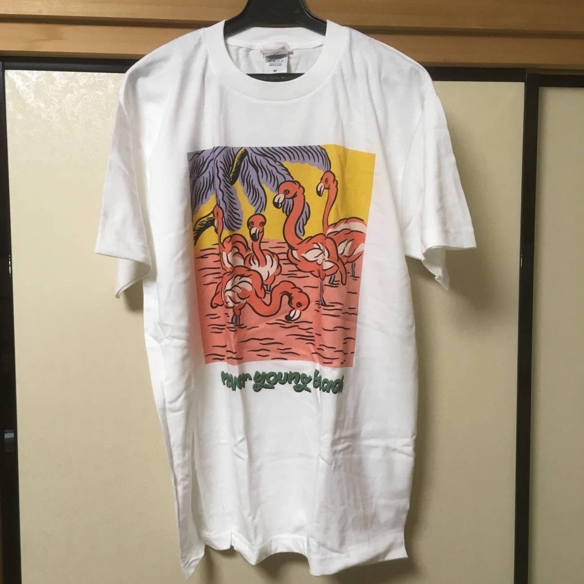 新品未使用☆never young beach Tシャツ Mサイズ ネバヤン グッズ フラミンゴ 白☆